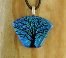 Fan Tree Fused Glass Pendant by FusedElegance