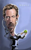 hugh Laurie caricature by efdemon