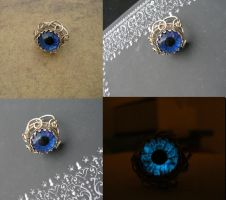 Blue  Eye Silver Swirl Flower Ring by LadyPirotessa