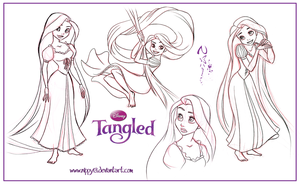 Tangled-Rapunzel Sketchdump02 by Nippy13