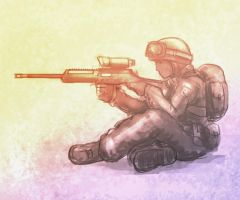 Speed painting: sitting sniper by rickystinger88