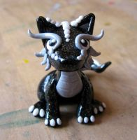 Black Sparkly Clay Dragon by Blenia