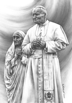 pope John Paul II and Mother Teresa by Katarzyna-Kmiecik