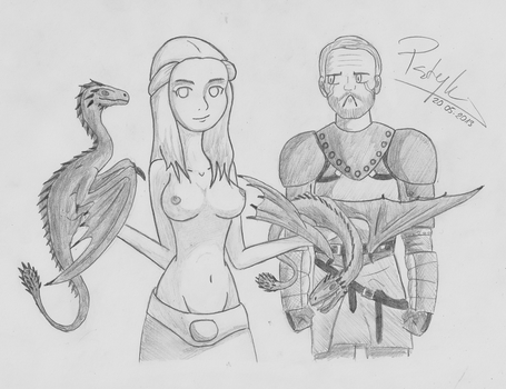 Khaleesi with Jorah Mormont by Pstryk5
