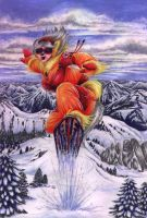 Snowboarding Wolfgirl by FeatherGale