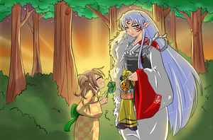 Rin and Sesshomaru gold fishing. by KireiHane