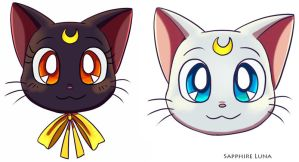 Moon kitty heads by sapphireluna