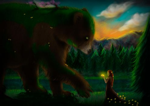 Gaia and her Forest Spirit by NekoCLaRish
