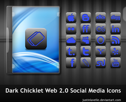 Dark Chicklet Social Icons by justinlavelle