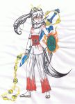 Amaterasu Human With Weapons by PandaVogel