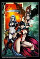 VAMPIRELLA,LADY DEATH,GOBLIN QUEEN :Gate of Hell by diabolumberto