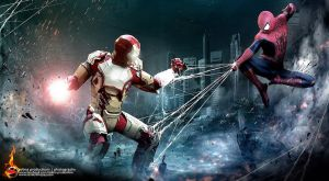 Spiderman vs Iron Man by Lilaeroplane