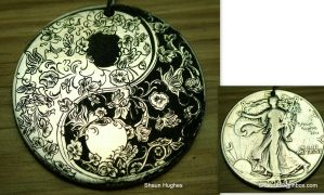 Hand Engraved Yin Yang Floral Butterfly Coin by shaun750