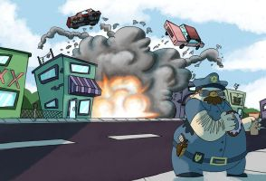 Cool cops don't look at explosions... by Hugovrb