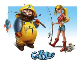 go Fishing Characters by j-o-k-a