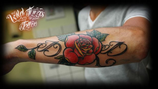 Lettering with rose tattoo by WildThingsTattoo