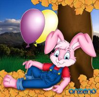 Leaves, balloons and bunny by Onzeno
