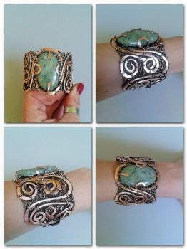 Statement wire bracelet with  Green Jade by TangledWorld