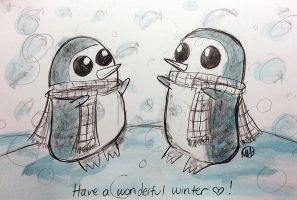 Christmas Card #5 - Gunter the Penguin by monkette