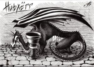 Scandinavian Myths - Nidhogg, the black dragon