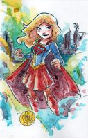 Watercolor: TV Supergirl by mikemaihack