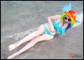 (MLP) Rainbow Dash Gets a Splash! (Bikini Cosplay) by KrazyKari