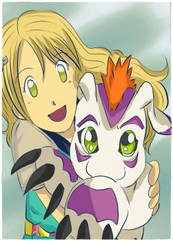 Nadia and Gomamon by ShimoDuck