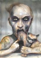 man eating cat by HOMELYVILLAIN
