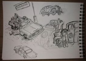 Mlp and cars sketchdump by Ulyanovetz