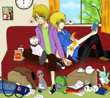 UsUk: Lazy Days by JazminKitsuragi