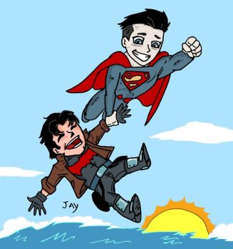 Bizarro flying with the Red Hood by Jasontodd1fan