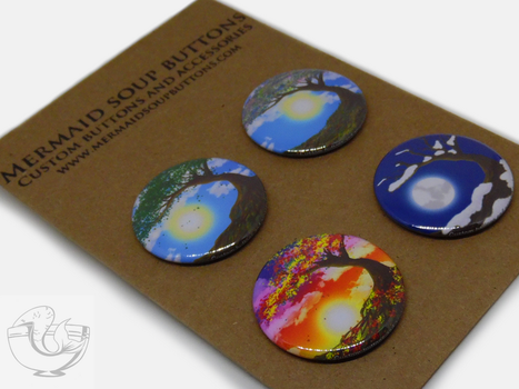 Tree Of Life pin back button set by MermaidSoupButtons