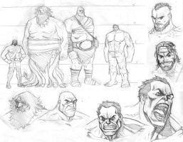 Hulk vs Hercules sketches by ReillyBrown