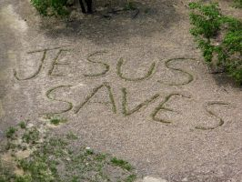 'Jesus Saves' Mark on Ground Below Waterfall by MissAmaterasu18