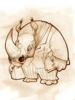 Doodle 241 - Rino character by giovannag