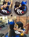 batman/wonder woman wedding cake topper by pnutink