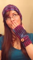Purple Hat and Wrist Warmer by BiggieShorty