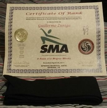 Black belt and Certificate of rank by GZneonknight45