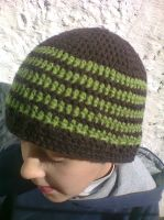 brown and green striped hat by adorablestejidos