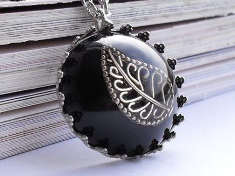 Antique Filigree Leaf necklace by janimie