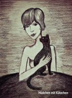 Girl with a cat by khakisoul