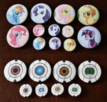 MLP:FiM and Portal Core Pins by CaptainMoony