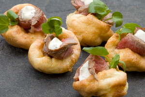 Mini Yorkshire Puddings with Beef and Horseradish by iconsPhotography