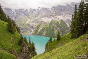 The mountain lake between the trees by LinsenSchuss