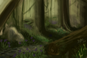 Forest painted on iPod touch by K1L1K