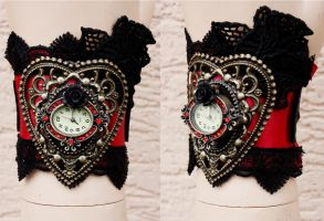 Black and ruby watch cuff by Pinkabsinthe