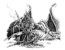 Witch King and Eowyn by vikingmyke
