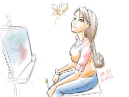 Mimi At Her Easel by samutoka