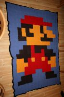 Knitted Mario blanket by KnitLizzy
