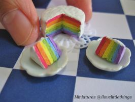 Miniature Rainbow Cake by ilovelittlethings